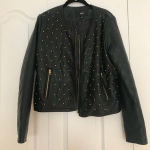 Jackets & Blazers - Faux leather jacket with quilted & beaded details.